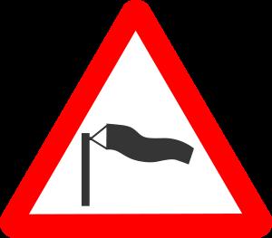 Vägmärke  blåsigt
