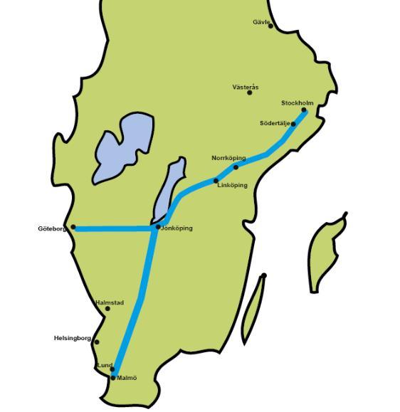 bild över järnvägen från stockholm till jönköping och vidare till malmö och göteborg